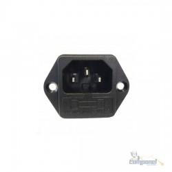 Jack Macho Painel AC 2P+T 10A + Porta Fusivel (Fax/monitor)
